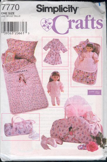 """Simplicity Sewing Pattern 7777, Chld's Sleepover Accessories and matching for 18"""" doll"""