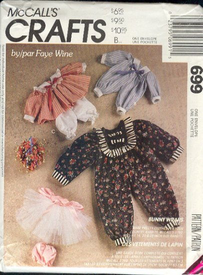 "McCall's Sewing Pattern 699, Bunny and Doll Clothes 14"" 20"" and 24"", dolls too"