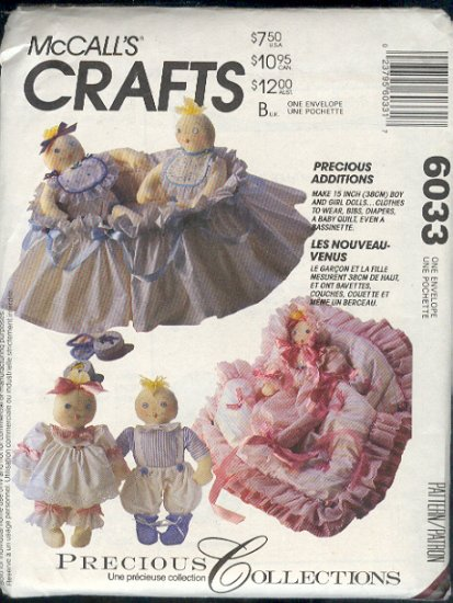 """Sewing Pattern, McCall's 6033, 15"""" Dolls, clothes, bibs, diapers, quilt, bassinette"""