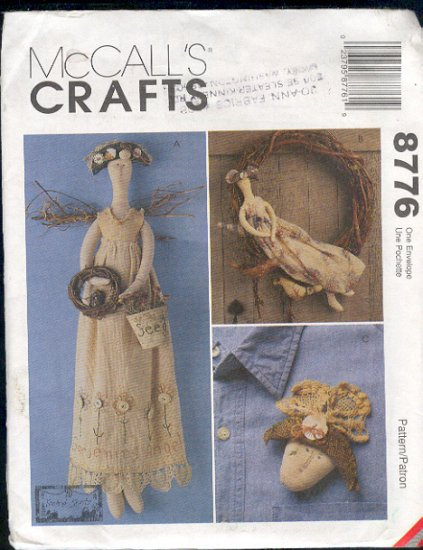 """McCall's Sewing Pattern 8776 Garden Angel, 22"""" doll with clothing and accessory pin"""