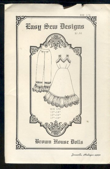 """Sewing Pattern, Brown House Dolls, Old Fashioned Bloomers and Chamise, 13"""" - 18"""""""