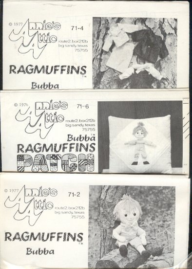 "Sewing Pattern, Ragamuffins, Bubba, 16"" doll with clothes and pillow"