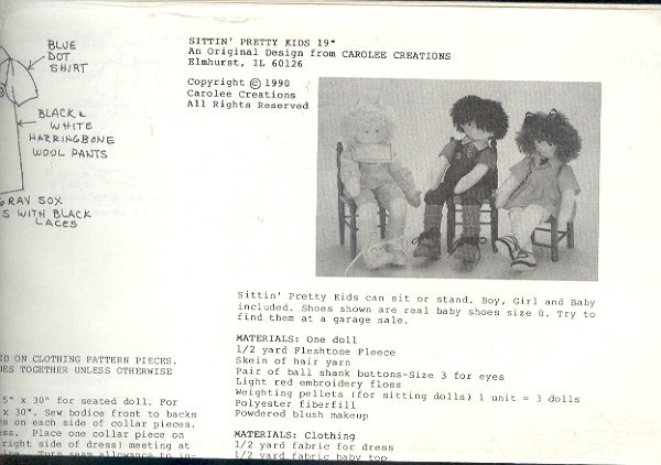 """Sewing Pattern, Carolee Creations, Sitting Pretty Kids 19"""" doll and clothes"""