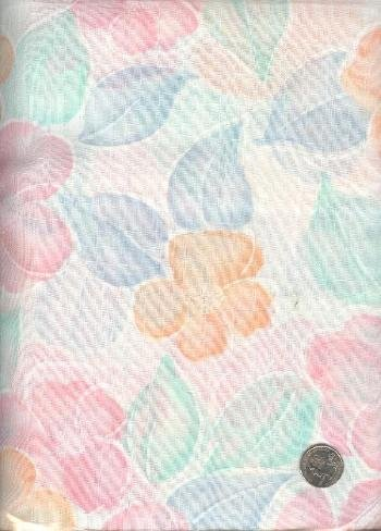 "Sewing Fabric Cotton Pastel Flowers 2 yds X 44""   No. 121"