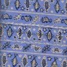 "Sewing Fabric Cotton Folk Design Sage Navy 1 yd X 44""  No. 130"