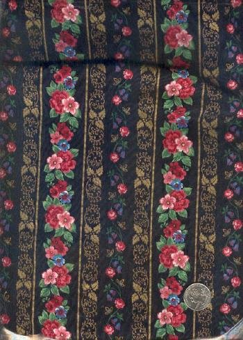 "Sewing Fabric Cotton Flower Stripes on Black 2.25 X 44""   No. 131"