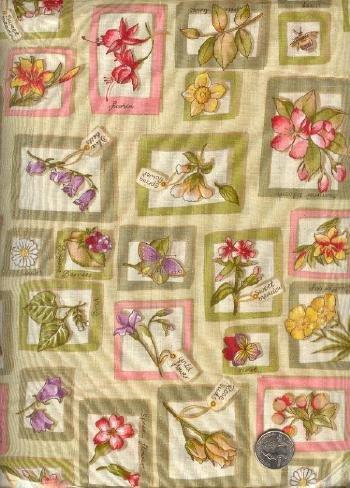 "Sewing Fabric Cotton botanicals Beige 4.75 yds X 44""  No. 119"