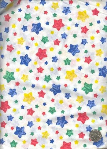 "Sewing Fabric Cotton Stars on white Cute 4.5 yds X 44""  No. 132"