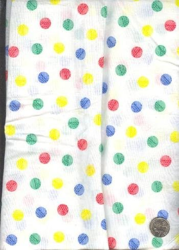 "Sewing Fabric Cotton Dots on White 4 yds X 44""  No. 135"