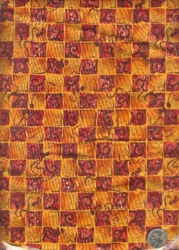 "Sewing Fabric Cotton Deep orange Squares 2 yds X 44""  No. 147"