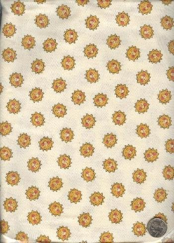 "Sewing Fabric Cotton Smiley Suns on beige 2 yds X 44""  No. 117"