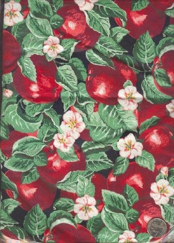 """Sewing Fabric Cotton Red Apples, 1 yd X 44"""" Neat  No. 109"""