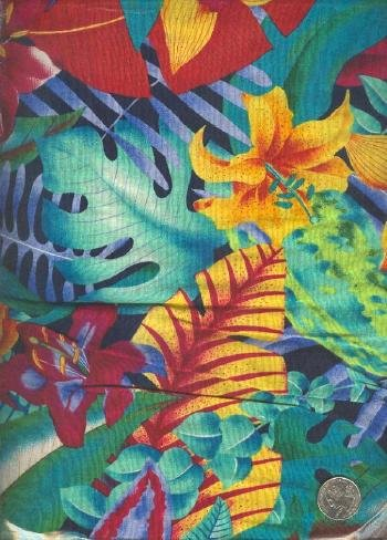 "Sewing Fabric Cotton Bright Hawaii Print 1.33 yds X 44""   No. 153"