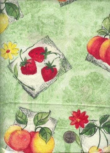 Sewing Fabric Cotton Fruit on Pale Green 1.5 yds X 44  No. 145