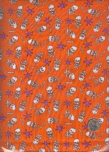 Sewing Fabric Cotton Halloween Skull Crossbones 6 yds  No. 151