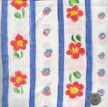 "Sewing Fabric Cotton Flower Stripe white 6.5 yds X 44""  No. 143"