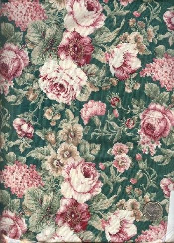 """Sewing Fabric Cotton Roses on green 1.25 yds X 44""""  No. 152"""