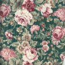 "Sewing Fabric Cotton Roses on green 1.25 yds X 44""  No. 152"