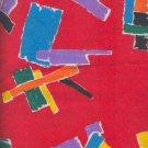 Sewing Fabric Cotton Bright geometrics on red 1.5 yards  No. 164