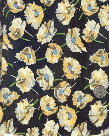 "Sewing Fabric Cotton Poppies on black 2 yds X 44"" No. 134"