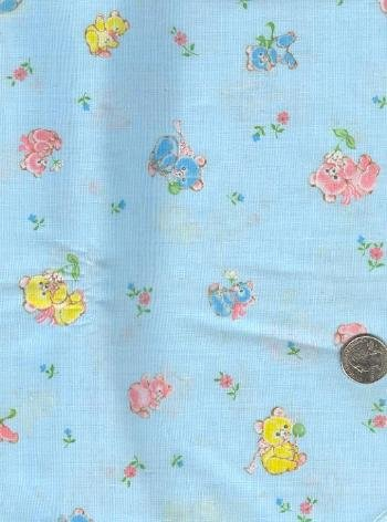 """Sewing Fabric Cotton Little bears on blue 2.5 yds X 44""""  No. 133"""