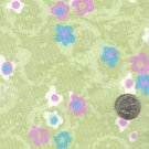 Sewing Fabric Cotton Mod flowers on green 1.5 yds X 44  No. 136