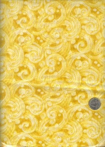 "Sewing Fabric Cotton Gold Swirls 1.5 yds X 44""  No. 171"