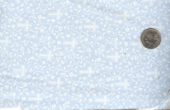 Sewing Fabric Cotton Small Print Vines & Crosses blue   No. 185