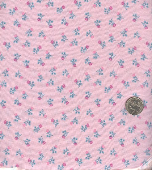 Sewing Fabric Cotton Small Print Roses on Pale pink  No. 186