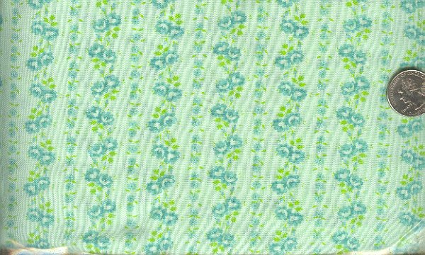 Sewing Fabric Cotton Small Print Roses on green 1.5 yds  No.193
