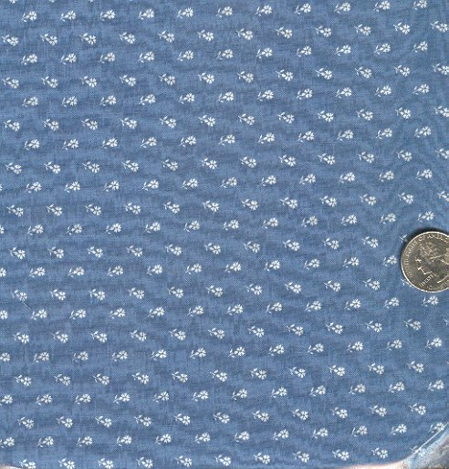 Sewing Fabric Cotton Small Print Flowers on blue/grey  No. 194