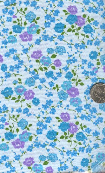 Sewing Fabric Cotton Small Print Aqua Lavender roses  No.208