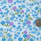 Sewing Fabric Cotton Small Print Aqua Lavender roses  No.208