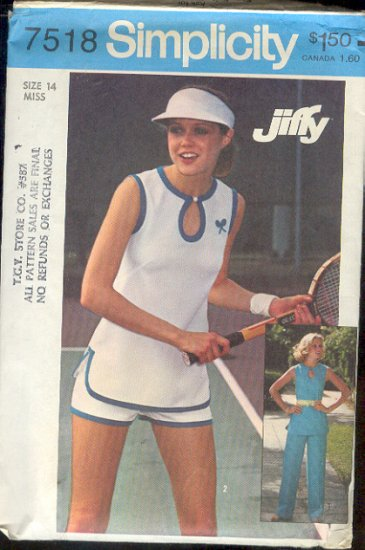 Sewing Pattern, Simplicity 7581 Tennis top and shorts and pants, Size 14