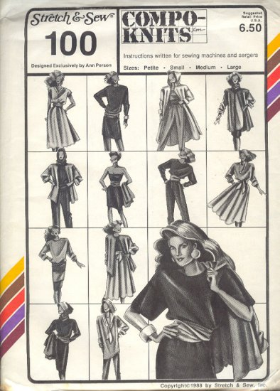 Stretch & Sew Sewing Pattern 100, Top, dresses, skirts pants, jumpsuit, Sizes Petite - Large