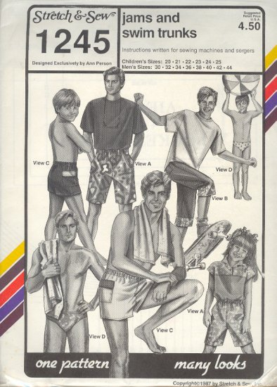 """Stretch & Sew Sewing Pattern 1245, Men's and Boys Swim and shorts, 20 - 44"""" chest"""