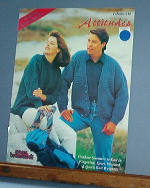 Knitting Patterns, Attitudes by Brunswick, Vol 938, 7 designs, men and women, sweaters & vests