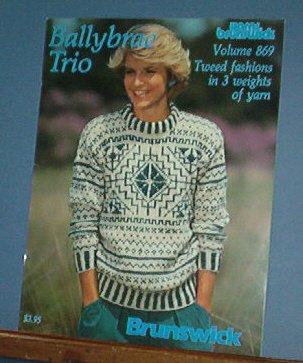 Knitting Patterns Brunswick 869 Ballybrae Trio 8 designs men and women sweaters and vests