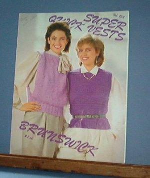 Knitting Pattern, Brunswick 853 Super Quick Vests for women
