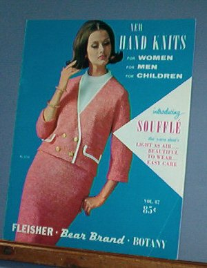 Vintage Knitting Patterns, 1960 Bear Brand 87 Women Men Children 24 designs