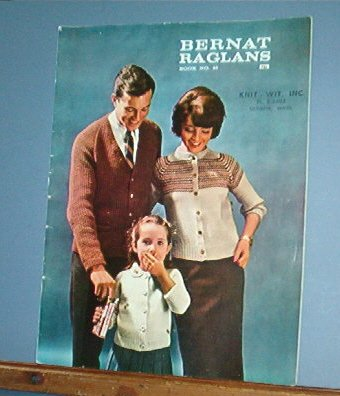 Vintage Knitting Pattern 1961 Bernat Raglans #97 Whole Family 17 designs