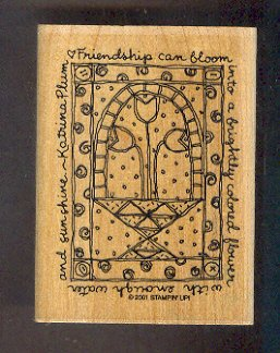 Rubber Stamp - Scrapbooking -  Wood Mount - New - Stampin Up Flower Quilt with phrase - 3 X 4 inches