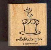 """Rubber Stamp - Scrapbooking - Wood Mount  - New -  Stampin Up  - Celebrate You w/Cake 2"""" X 2"""""""