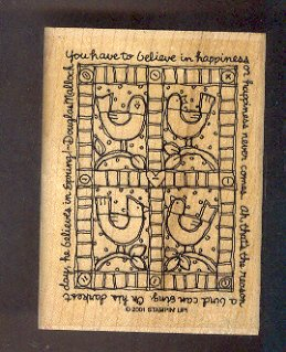 Rubber Stamp - Scrapbooking  Wood Mount New Stampin Up - Birds Quilt with phrase - 3 X 4 ""
