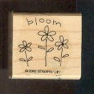 "Rubber Stamp - Scrapbooking - Wood Mount  - New -  Stampin Up  - Bloom with 3 flowers 1.5"" X 1.5"""