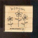 """Rubber Stamp - Scrapbooking - Wood Mount  - New -  Stampin Up  - Bloom with 3 flowers 1.5"""" X 1.5"""""""