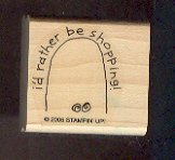 Rubber Stamp - Scrapbooking - Wood Mount  - New -  Stampin Up  - I'd Rather Be Shopping 1.5X1.5""