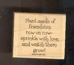 Rubber Stamp - Scrapbooking - Wood Mounted - New -  Stampin Up - Friendship quote 2 X 2 inches