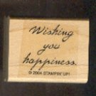 Rubber Stamp - Scrapbooking - Wood Mount -  New  - Stampin Up - Wishing you happiness 1.25 X 1""