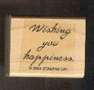 """Rubber Stamp - Scrapbooking - Wood Mount -  New  - Stampin Up - Wishing you happiness 1.25 X 1"""""""